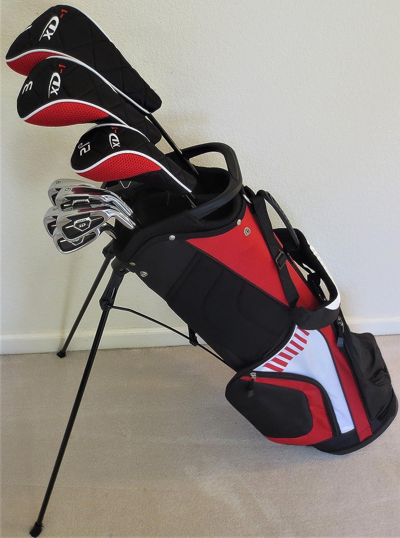 SeniorメンズゴルフセットCompleteクラブドライバ、フェアウェイウッド、ハイブリッド、アイアン、パター&スタンドバッググラファイト B01G9FYCWQ