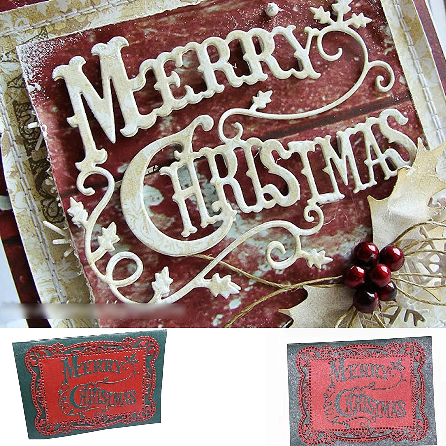 Merry Christmas Holly Leaves Metal Die cuts Christmas Word Background Layering Cutting Dies Cuts for Album Card Making Tools Scrapbooking DIY Decoration