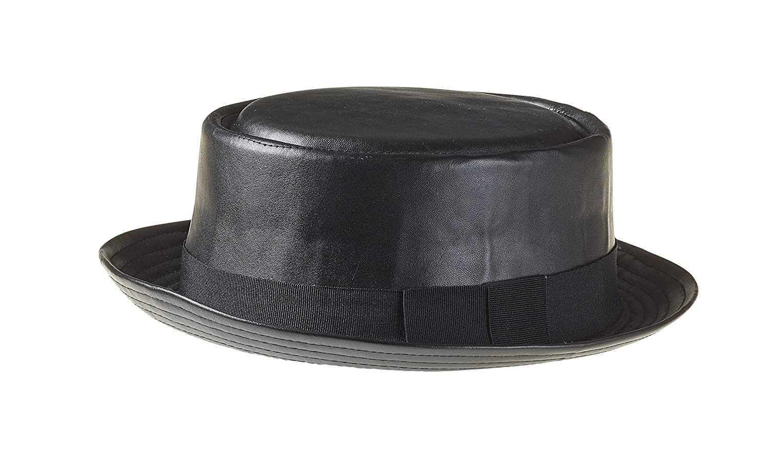 Adult Pork Pie Fedora Trilby Textured Faux Leather Hat in Many Colours Designer Heisenberg Breaking Bad hat