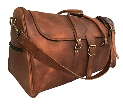 148145e1b3 Image Unavailable. Image not available for. Color  kk s 24 Inch real goat  leather vintage genuine leather travel duffel bags luggage bags gym bags