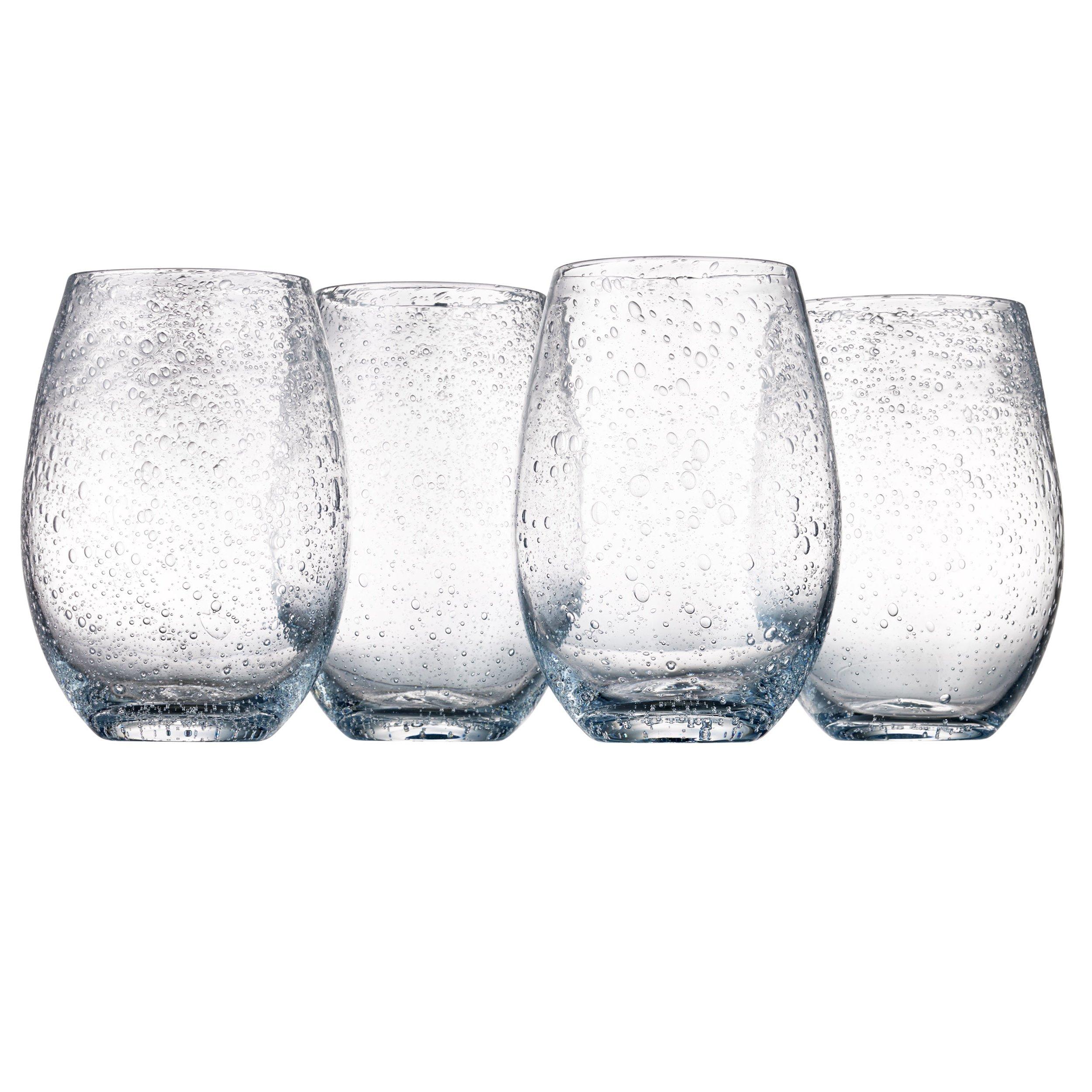 Artland Iris Stemless Glasses, Clear, Set of 4