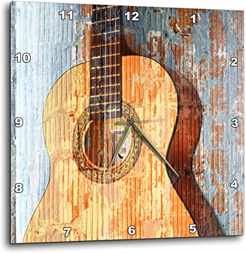 3dRose DPP_29238_2 Vintage Guitar Music Instruments Wall Clock, 13 by 13-Inch