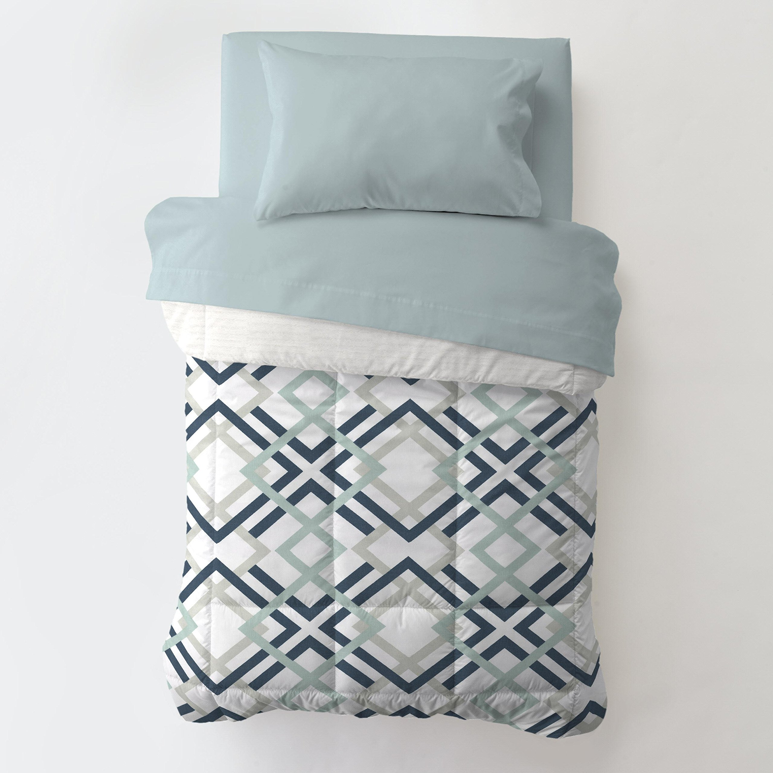 Carousel Designs Navy and Gray Geometric Toddler Bed Comforter