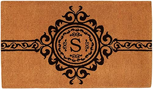 Calloway Mills 180071830S Garbo Monogram Doormat, Extra-Thick 18 x 30 x 1.50 Letter S , Natural Black