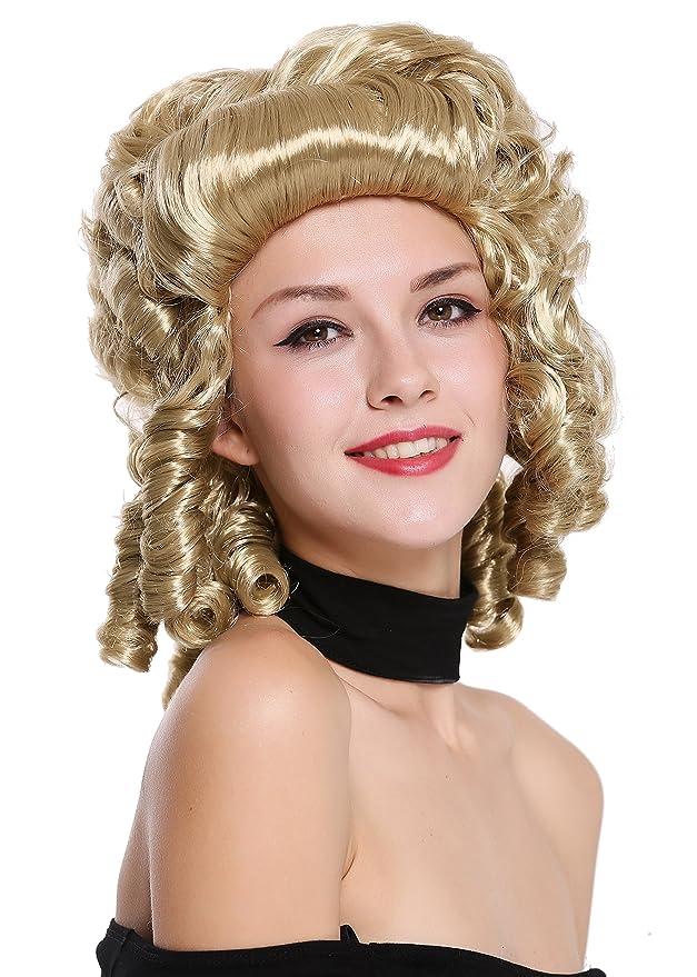 WIG ME UP ® - 91022-ZA33 Peluca Mujer Carnaval Barroco Renacimiento Rubio rizos Reina María Antonieta Princesa: Amazon.es: Juguetes y juegos