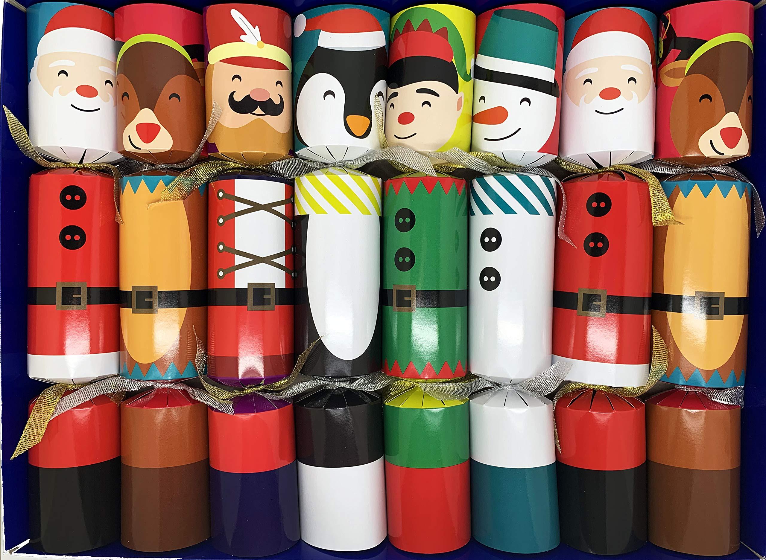Crackers Ltd Set of 8 Magic Tricks Christmas Crackers in Festive Characters Design - Reindeer, Nutcracker, Snowman, Elf, Santa and Penguin