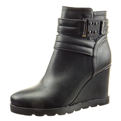 Sopily - Zapatillas de Moda Botines Biker - Motociclistas A Medio Muslo Mujer Hebilla Talón Plataforma 9 CM - Negro CAT-4-YS415 T 39: Amazon.es: Zapatos y ...