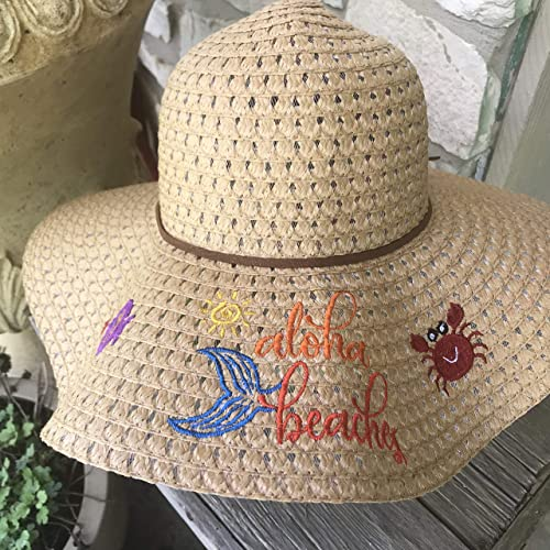 c88fa63cf4d87 Image Unavailable. Image not available for. Color   quot Aloha  Beaches quot  Embroidered Ladies Sun Hat (FREE SHIPPING)