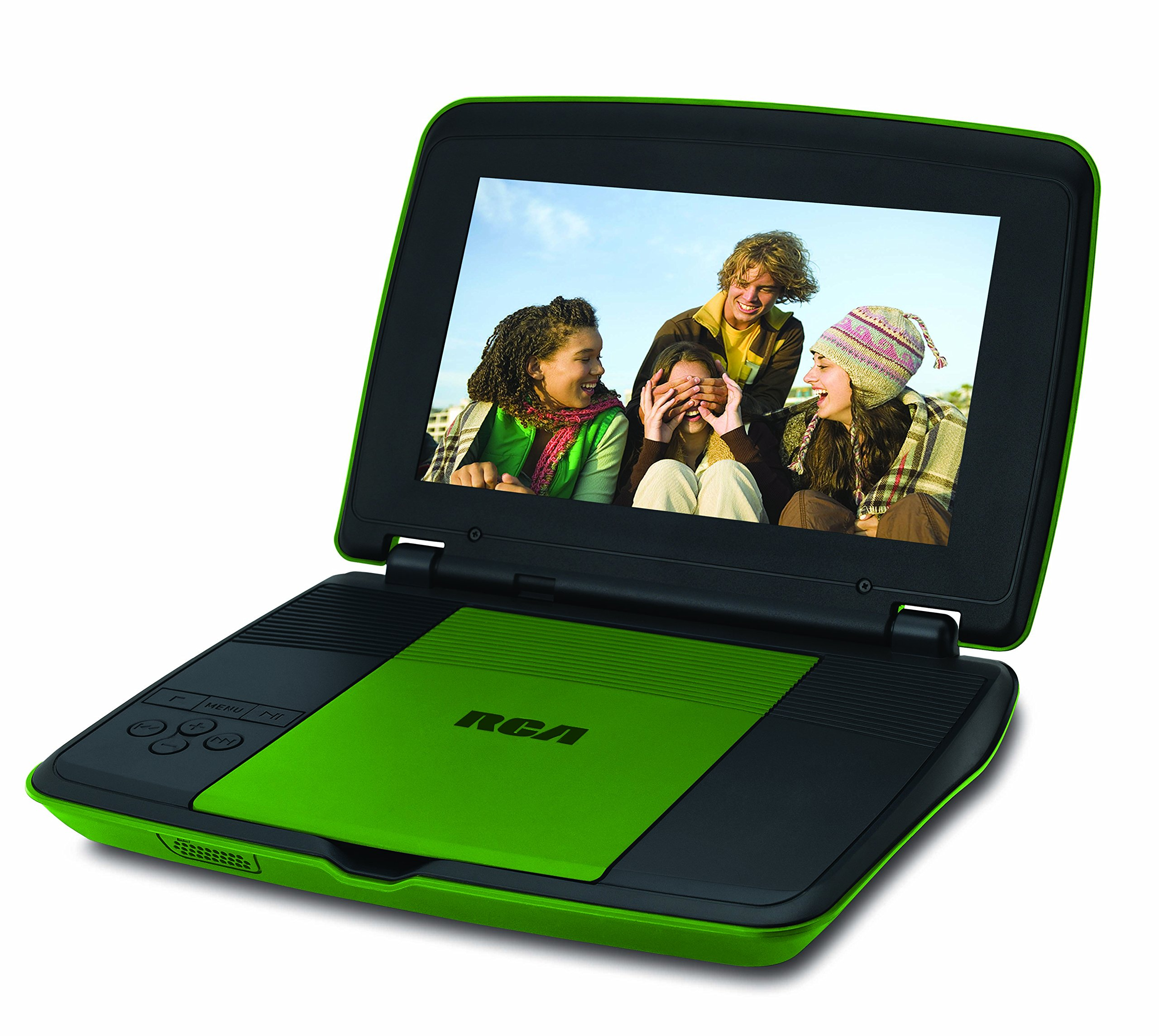 RCA 9 Inch Portable DVD CD Player with Travel Kit Watching in a Car Remote Control | Rechargeable Battery | AC Adapter | Car Charger, Green by RCA