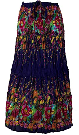 Krinkelrock, Mini Robe Style Hippie Synonyme Maxirock Bleu/jupes