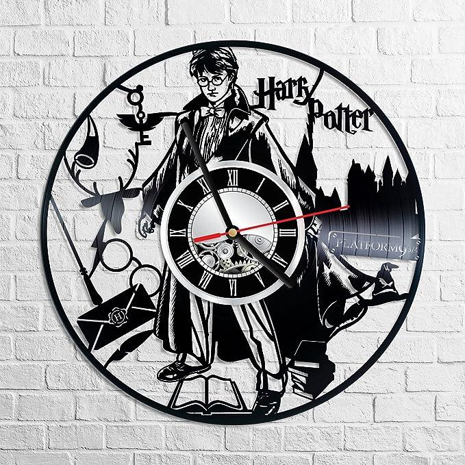 Harry Potter Reloj de pared hecho de vinilos vintage – reloj elegante y increíble idea de regalos – Decoración del hogar única – regalos personalizados para hombres y mujeres niños – ideal