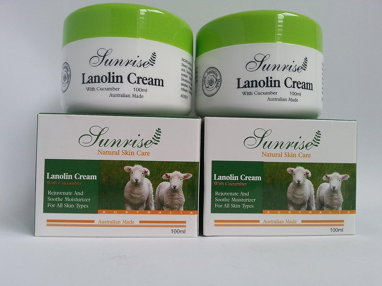 2x Sunrise Lanolin Cream With Cucumber 100ml Made in Australia