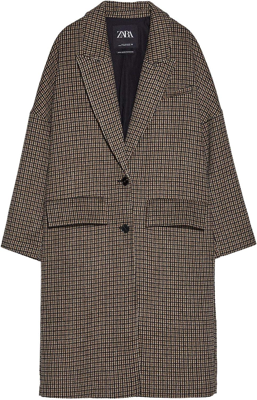 Zara 1255/230/716 - Abrigo para mujer (tamaño extragrande), diseño de cuadros marrón L: Amazon.es: Ropa y accesorios