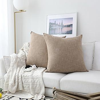 Amazon Com Washed Jute Burlap Plain Pillow Cover 20 Quot X 20