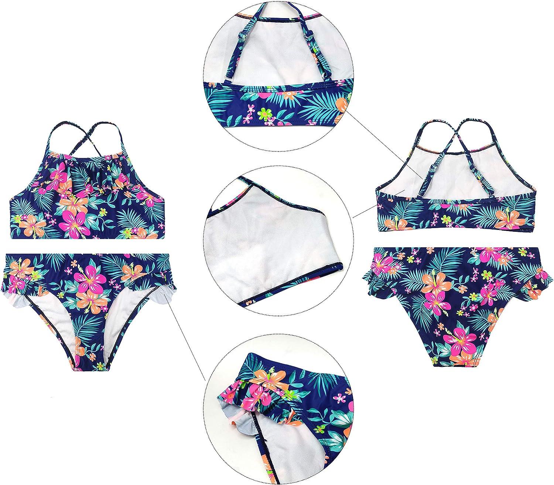 SHEKINI Traje de Ba/ño de Ni/ña Dos Piezas Estampado Tirantes Espalda Cruzada Bikini para Ni/ña 6-14 A/ños