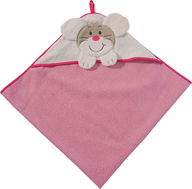 Morgenstern Kapuzenhandtuch 100x100 cm rosa Motiv Maus 100% Baumwolle Kinder Babys 8841-00-00