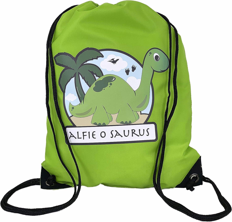 The Supreme Gift Company Personalised Green bag Kids Dinosaur Drawstring Swimming, School, PE Bag For Boys & Girls