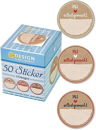 Avery Zweckform 56818 Sticker Auf Rolle, Marmelade (38 Mm, Im Spender) 50