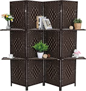 ALPHA HOME Display Shelves Woven Room Divider 4 Panel 6 Ft Portable Wide Tall Double Hinged Folding Privacy Screens Oriental Style Shoji Freestanding Partition Wall Divider For Living Room/Hall/Parlor