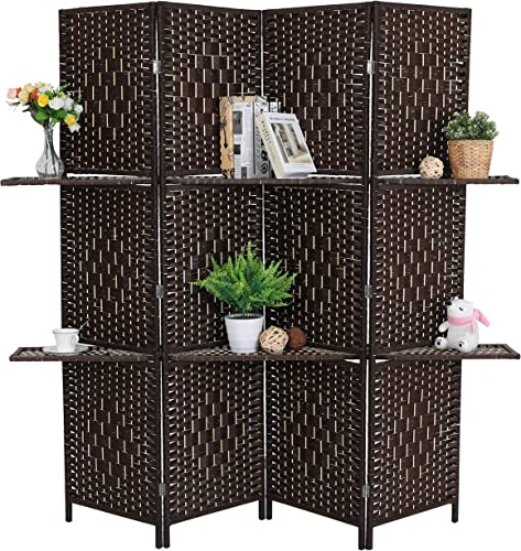 ALPHA HOME 4 Panel Woven Wooden Room Divider, 6 ft. Tall Freestanding Room Screen with Removable Storage Shelves, Dark Brown