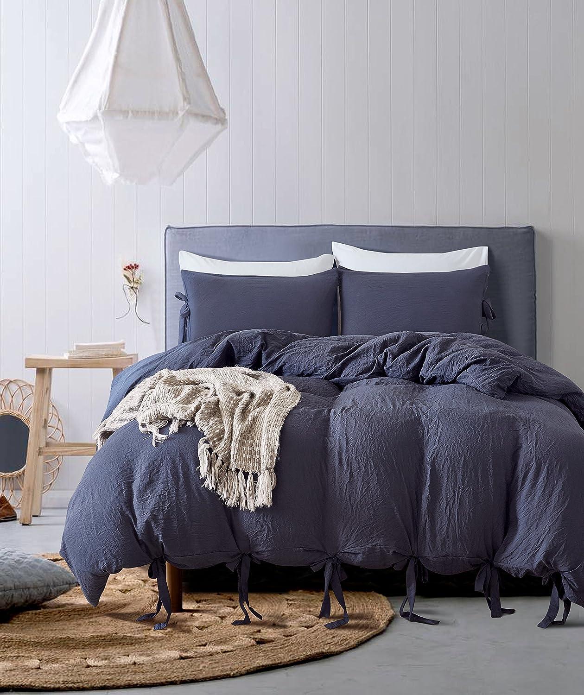 Nuosha-BABY Bowknot Bow Tie Duvet Cover Set Washed Cotton Soft Bedding Set 3 Piece Comforter Set Dark Blue Twin