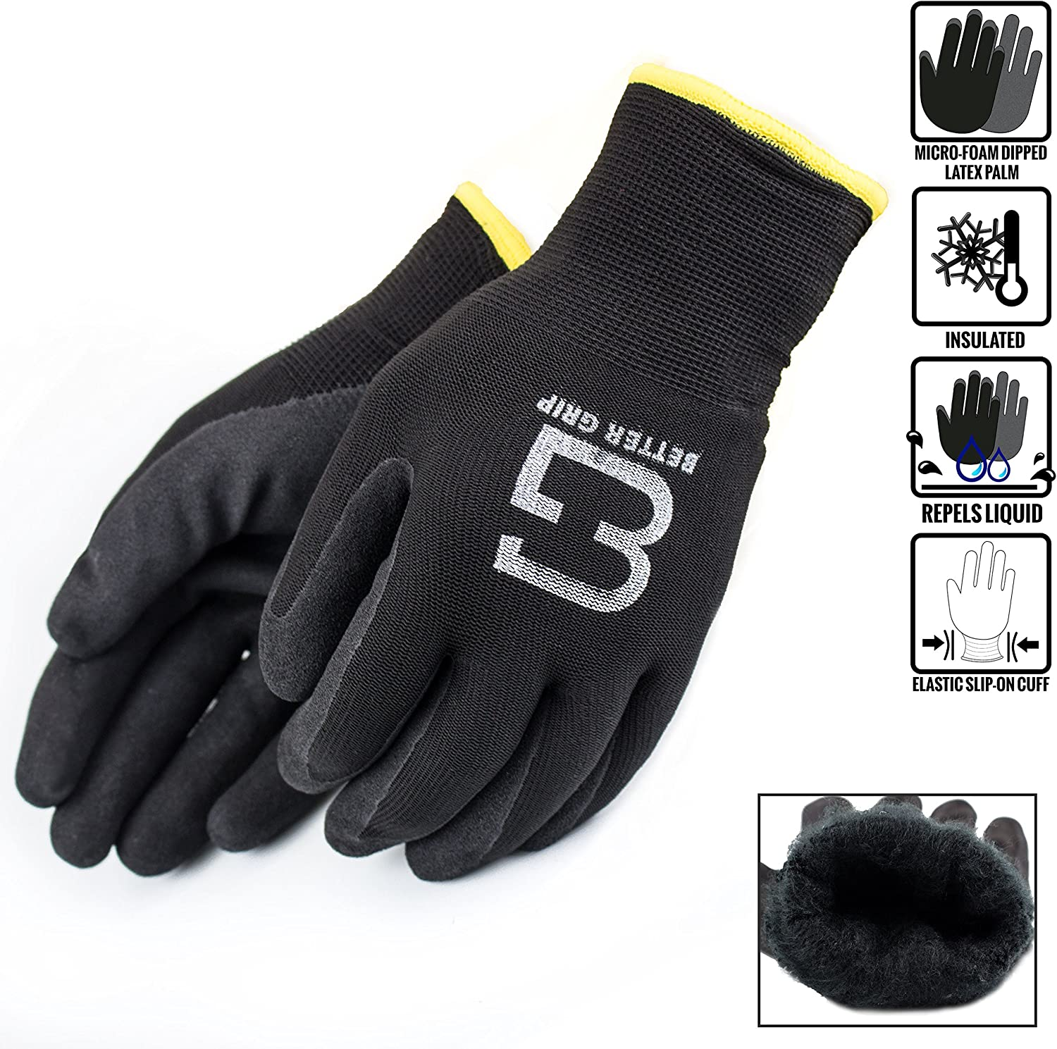Better Grip BGWANS Safety Winter Insulated Double Lining Rubber Coated Work Gloves, 3 Pairs/Pack (Large, Black)