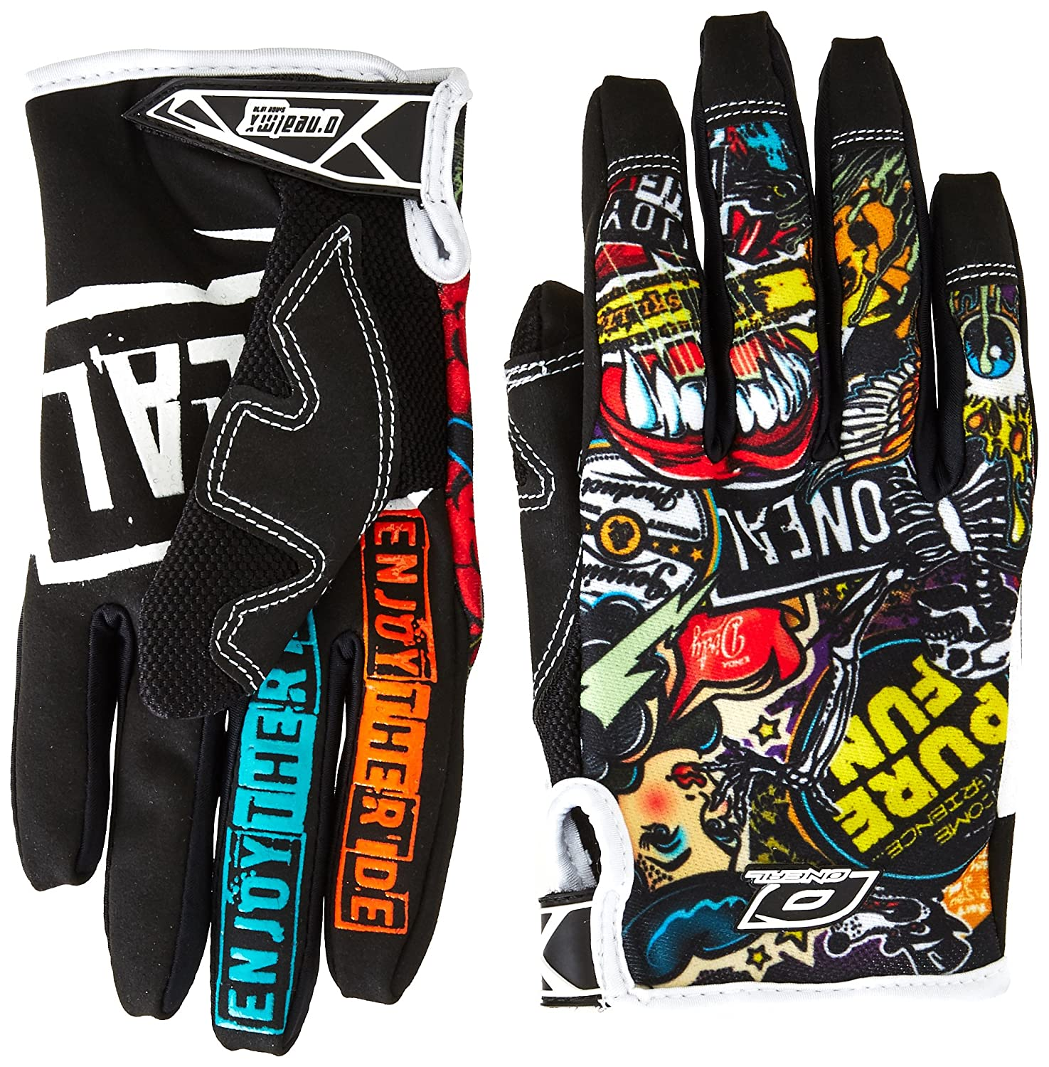 ONeal Jump Gloves with Crank Graphic Black//Multicolor, Size 8
