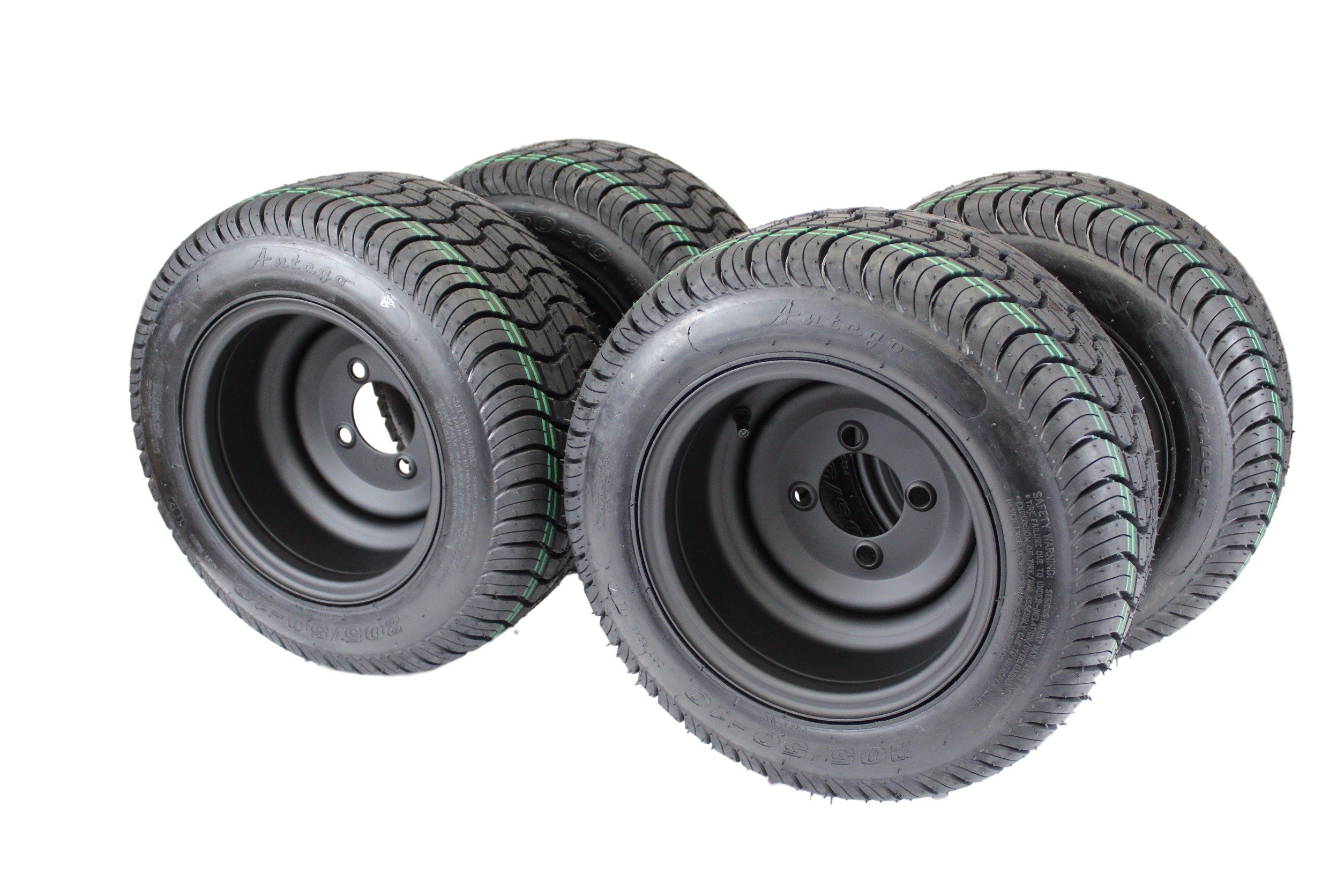 205/50-10 with 10x7 Matte Black Wheels for Golf Cart (Set of 4)