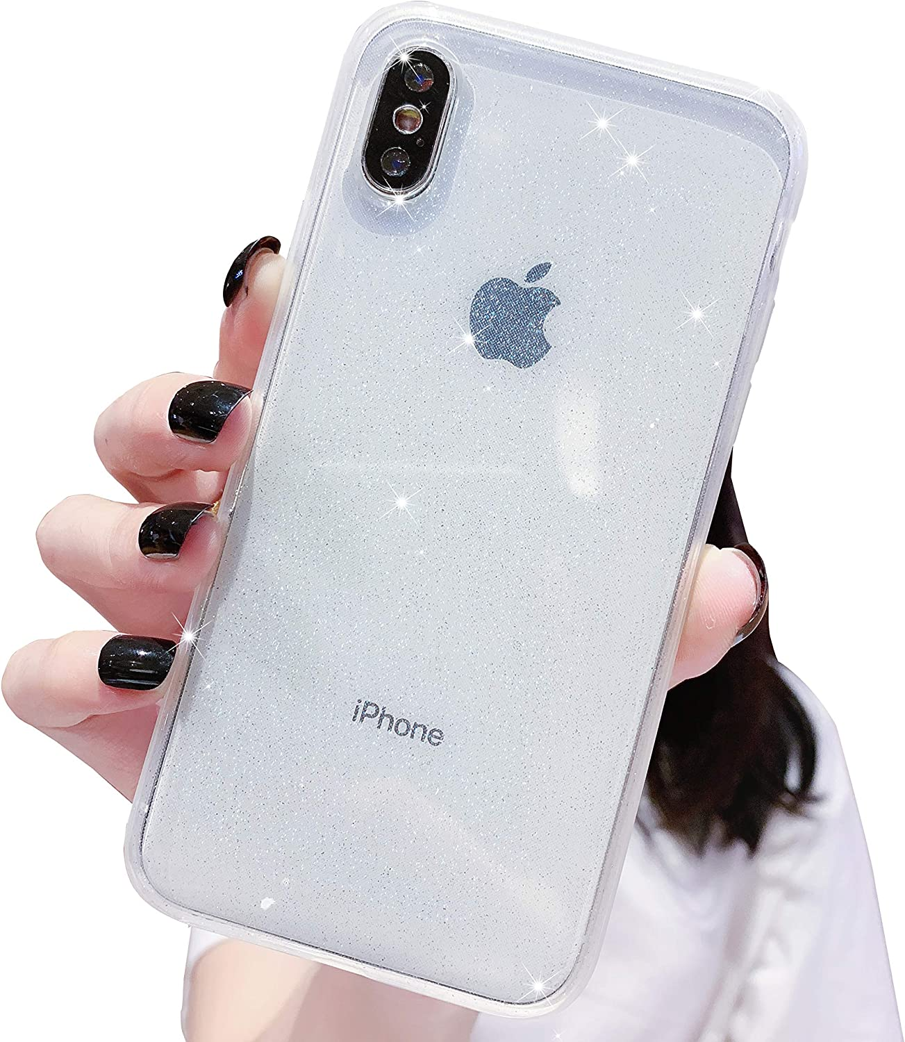 Anynve iPhone X/XS Case, Clear Glitter Bling Sparkle Case [ Anti-Shock Matte Edge Bumper Design] Cute Slim Soft Silicone Gel Case Compatible for Apple iPhone X/Xs 5.8''-Clear