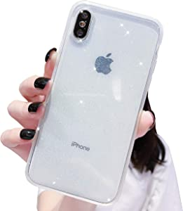 iPhone Xs Max Case Bling,Anynve Clear Glitter Sparkle Case [ Anti-Shock Matte Edge Bumper Design] Cute Slim Soft Silicone Gel Case Compatible for Apple iPhone Xmax 6.5''-Clear