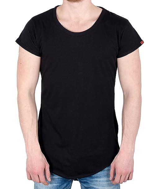 ee21f81189c34a BetterStylz Paris Basic Zip Slub T-Shirt lang geschnittenes Shirt hinten  länger S-XL