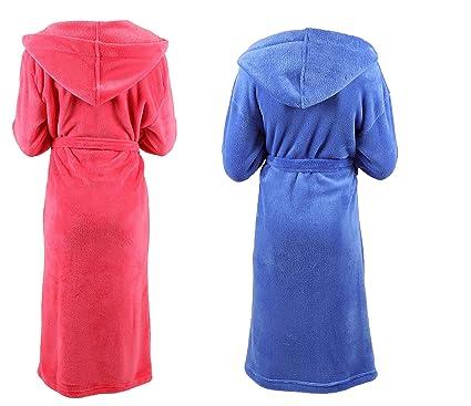 BETZ Albornoz con capucha para niños chicas chicos tamaños 128-176 de color azul y