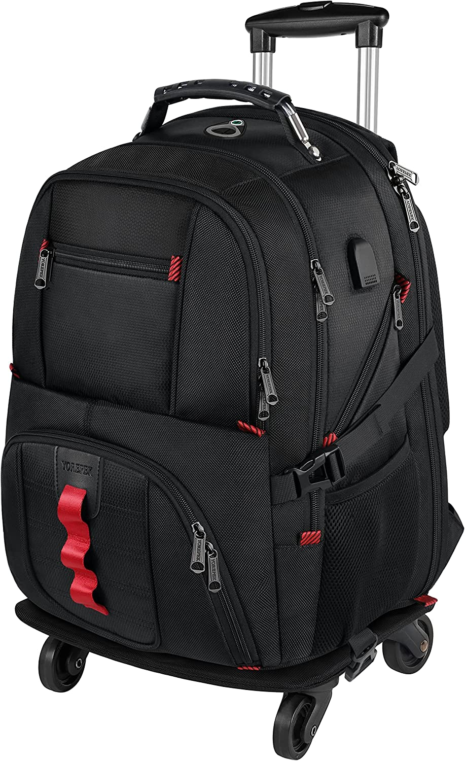 Rolling Backpack with Wheels, Backpack on Wheels for Men Women Adults,17 inch Wheeled Roller Computer Rucksack for Travel Business College School,Gifts for Men Women Boyfriend Girlfriend,Black
