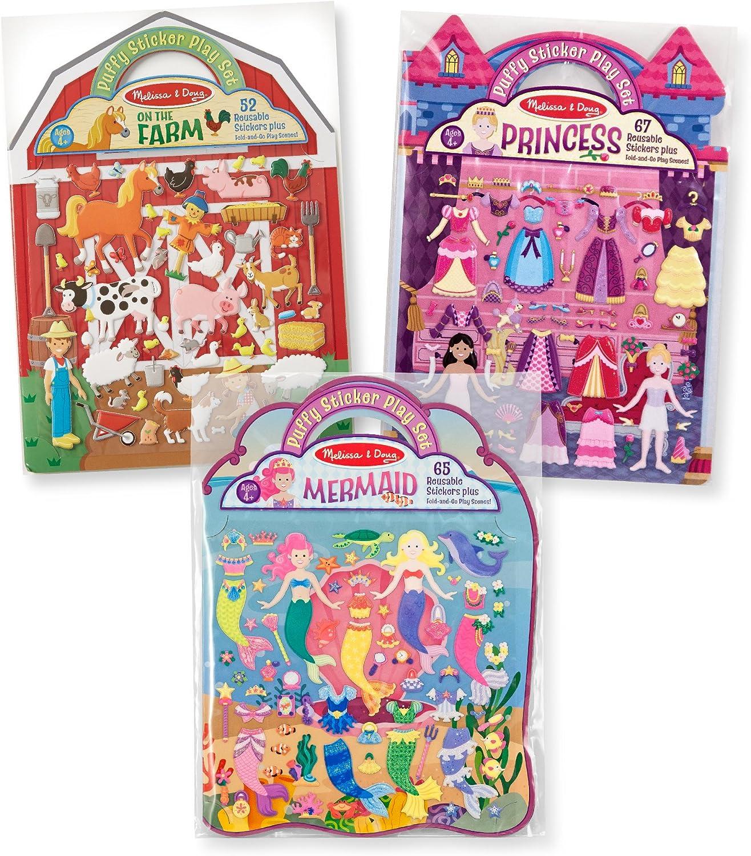 Melissa & Doug Reusable Puffy Sticker Play Set 3 Pack on The Farm, Princess, Mermaid, Multicolor