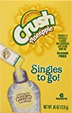 Crush Singles To Go Powder Packets, Water Drink Mix, Pineapple, Non-Carbonated, Sugar Free Sticks (12 Boxes with 6 Packets Each – 72 Total Servings)