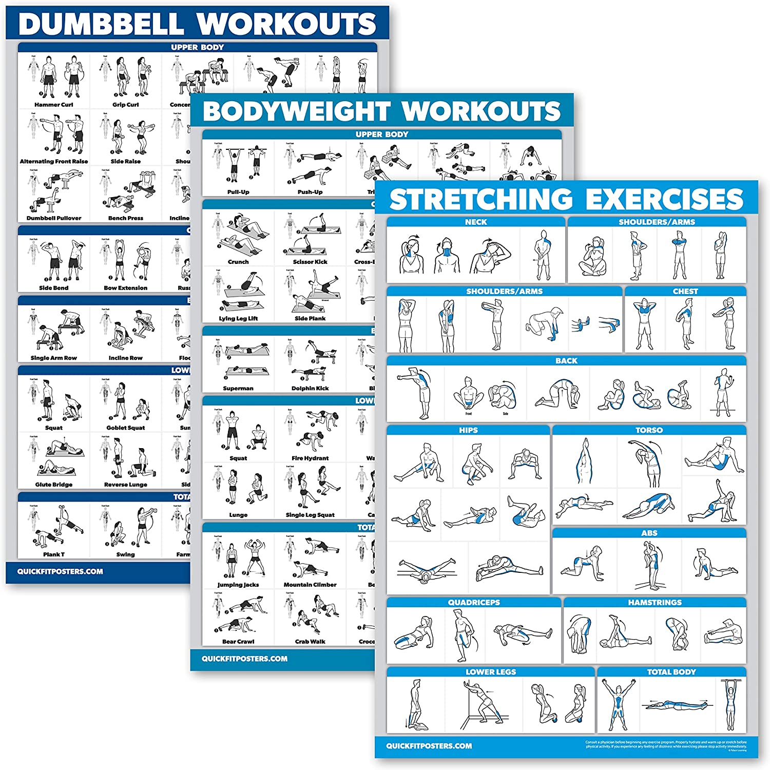 QuickFit 3 Pack - Dumbbell Workouts + Bodyweight Exercises + Stretching Routine Poster Set - Set of 3 Workout Charts