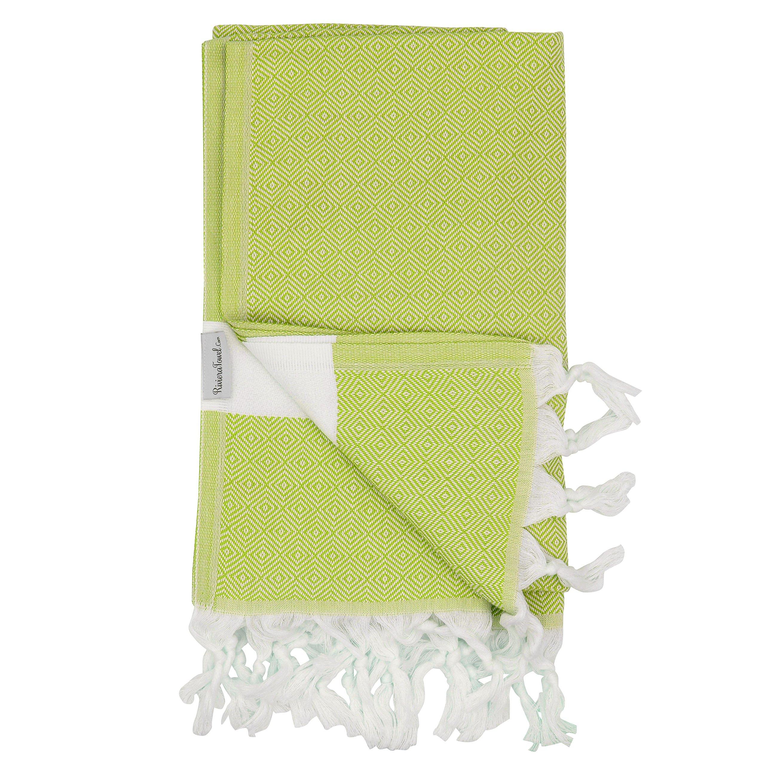 Lime Diamond Turkish Towel - Naturally Dyed 100% Cotton - 70x39 inches - Beach Bath Pool Yoga Pilates Picnic Blanket Scarf Wrap Hammam Fouta Turkish Bath Towels Peshtemal