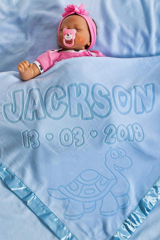 Manta De Bebé Personalizada Para Cuna Con Motivo De Tortuga, Regalo Para El Bebé O Los Padres, Tamaño 88x88CMcm (Tortuga/Azul)
