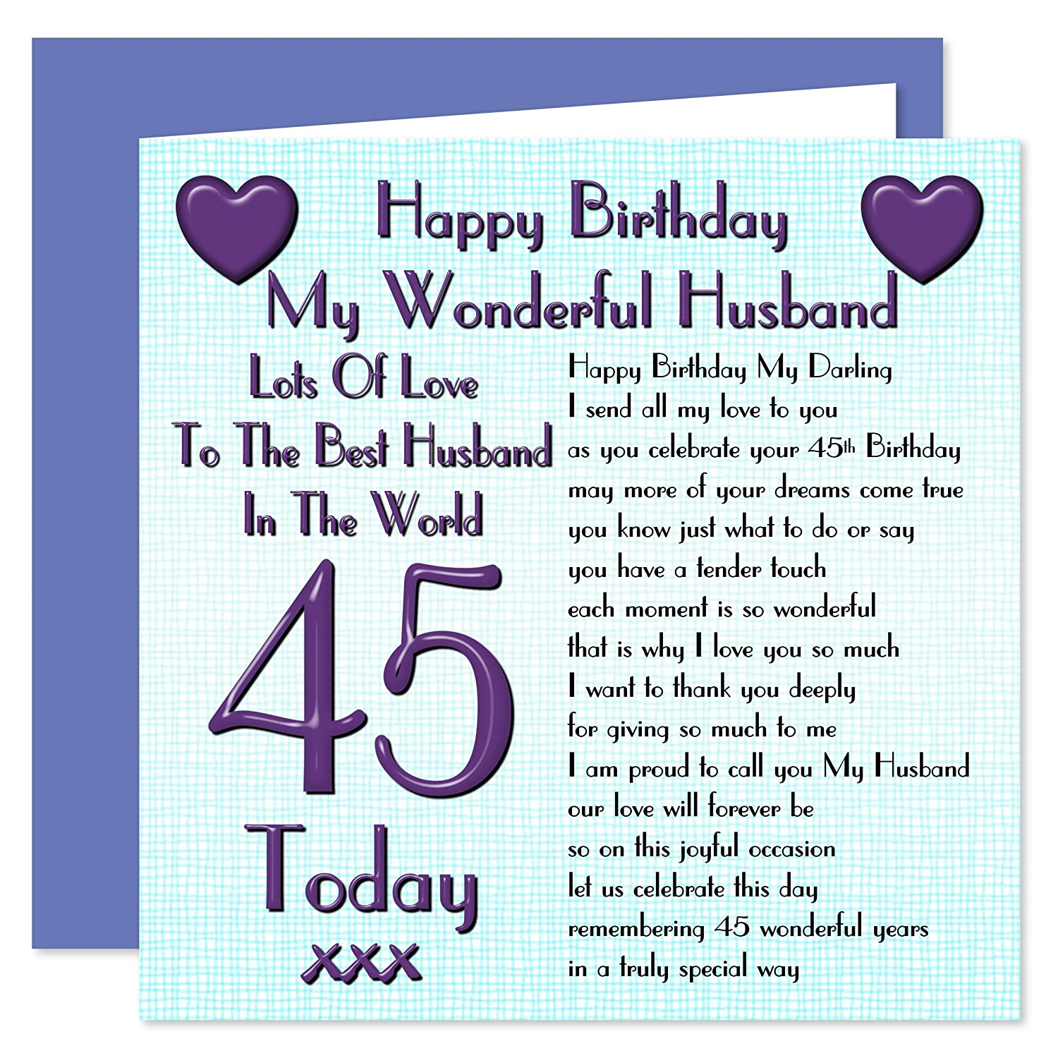Husband 45th happy birthday card lots of love to the best husband husband 45th happy birthday card lots of love to the best husband in the world 45 today amazon office products kristyandbryce Images