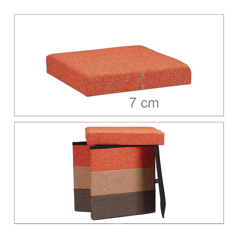38 x 38 x 38 cm Relaxdays Padded Storage Ottoman