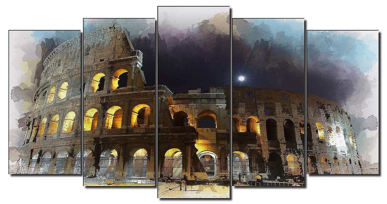 Dekoarte 338 Colosseo romano 120x80cm Quadro moderno su tela  montato su telaio in legno di 1 pezzi
