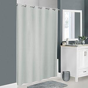 Zenna Home InstaCurtain Norwalk Seersucker Fabric Shower Curtain, 70 inches x 74 inches, Grey