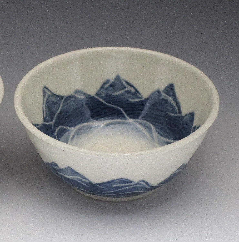 Handmade porcelain ice cream bowl, handpainted in mountain design