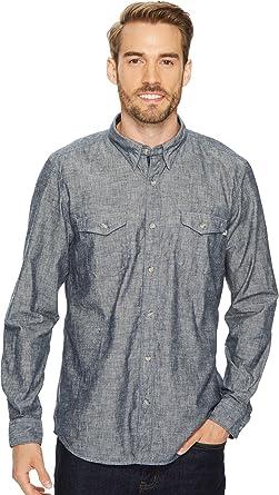 bec49d111 Timberland Men s Long Sleeve Mumford River Camo Chambray Shirt Dark  Sapphire Yarn-Dye Small