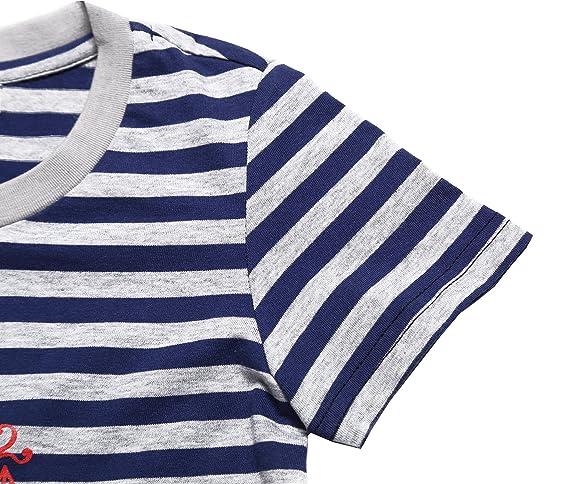 Oceankids Niñass 100% Algodón orgánico de algodón suave Old Navy O-Collar T-shirt - Strip Sailor 8T 7-8 Años: Amazon.es: Ropa y accesorios
