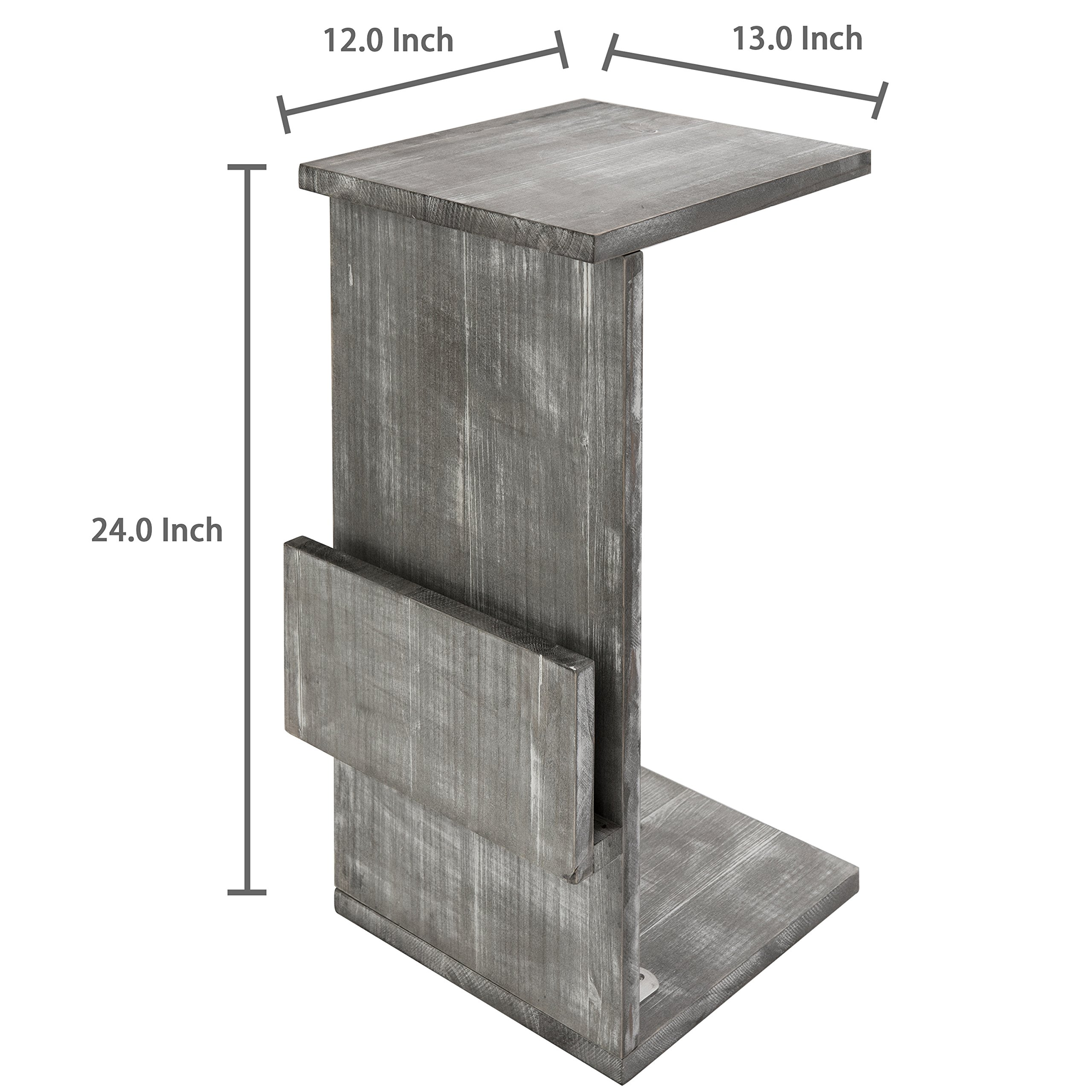 Gray Whitewashed Wood Sofa Side Table with Magazine Holder Rack, Under-the-Couch Sliding Tray by MyGift (Image #6)