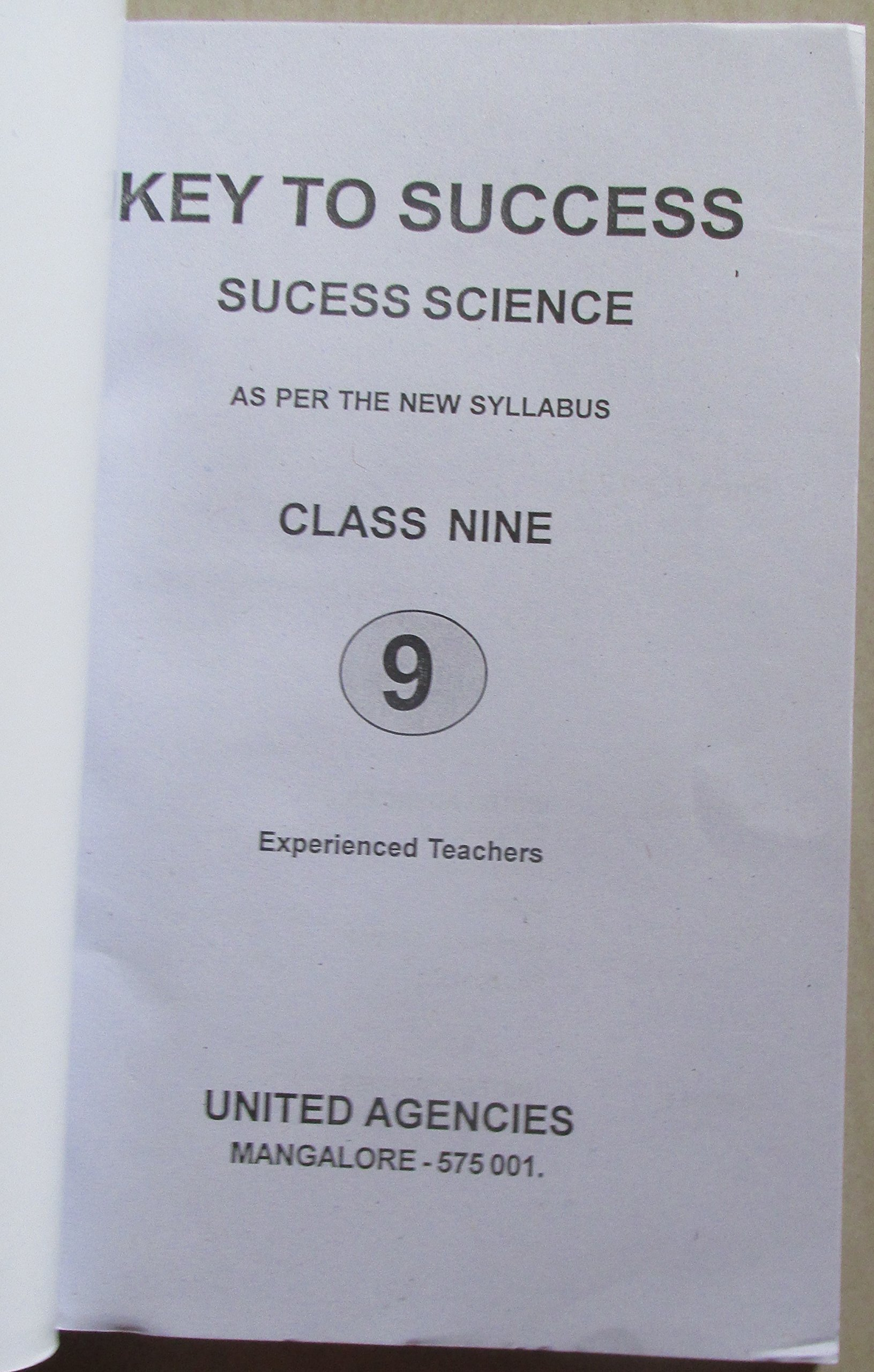 Key to Success - Complete Guide for 9th Std Karnataka English Medium -  Maths+Science: Amazon.in: Books