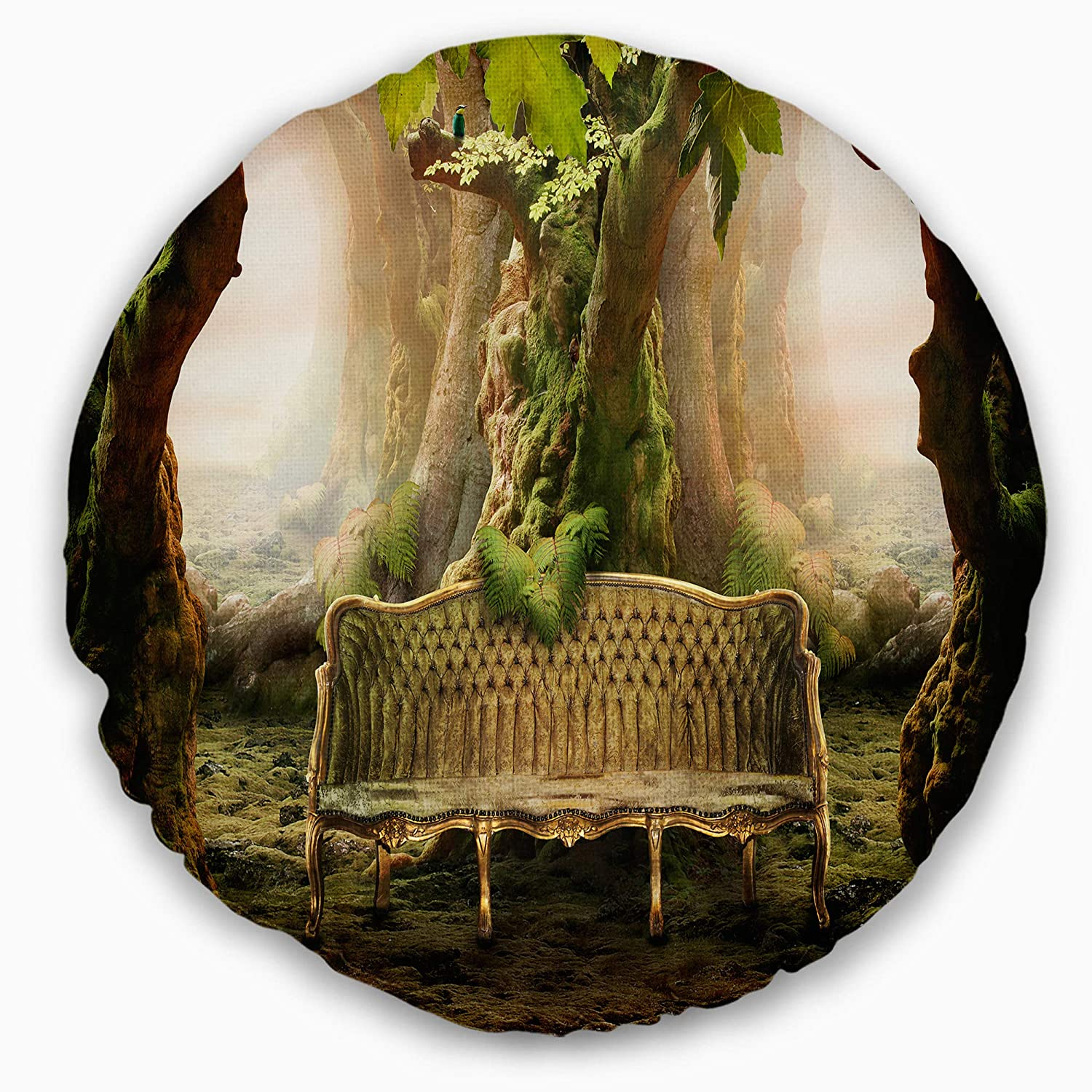 Designart CU9461-20-20-C Romantic Seat in Deep Forest' Landscape Photography Round Cushion Cover for Living Room, Sofa Throw Pillow 20', Insert Printed On Both Side