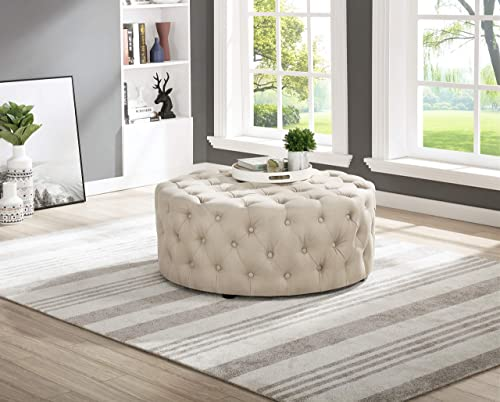 Best Master Furniture Sherlyn Tufted Round Ottoman/Footstool