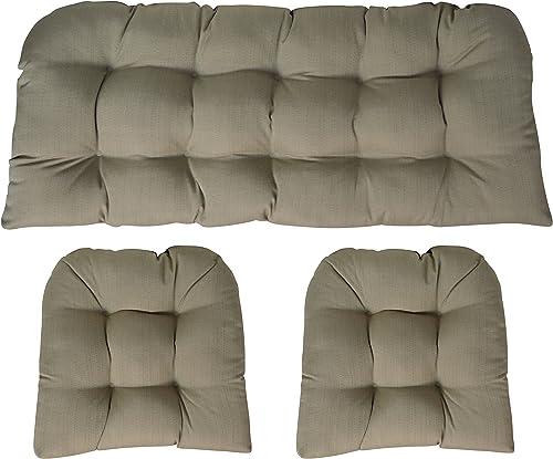 Sunbrella Linen Champagne 3 Piece Wicker Cushion Set - a good cheap outdoor chair cushion